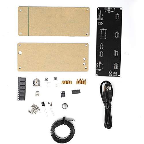 Rosilesi DIY Clock Kit - 5V Patch Digital Lattice Elektronisches DIY Clock Kit in Acryloptik mit Temperaturaufforderung
