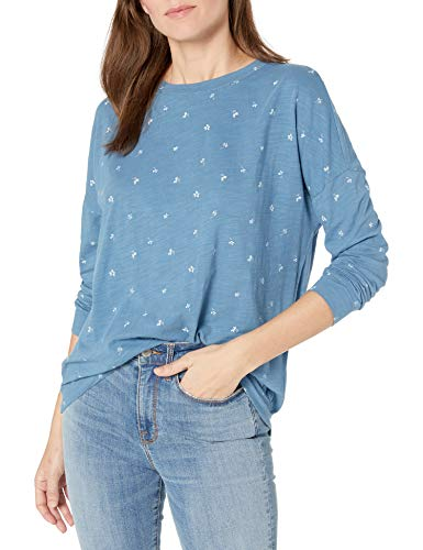 Amazon Brand - Goodthreads Women's Lightweight Vintage Cotton Dolman Blouson Shirt, Indigo Tossed Floral, X-Large