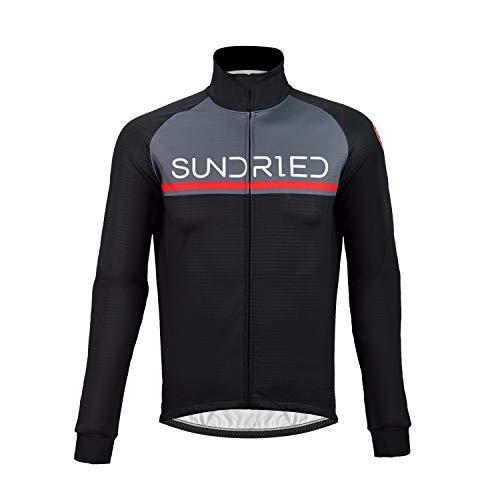 Sundried Herren Thermal Radjacke Wasserdicht Winter-Bike Bekleidung Winddichtes Rennrad und Mountainbike (schwarz, XL)