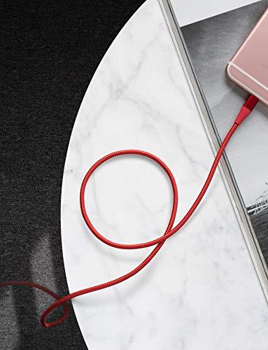 Anker Powerline+ II iPhone Kabel 3m iPhone Ladekabel Lightning Kabel Nylon, MFi Zertifiziert mit dem iPhone XS/XS Max/XR/X / 8/8 Plus / 7 / 6s / 6/ iPad und mehr (Rot)