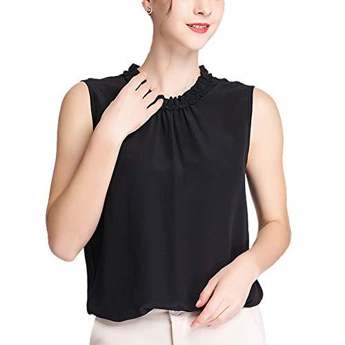 DISSA BS20015 - Camiseta de tirantes de seda para mujer, cuello redondo, informal, de seda, color liso Negro 40