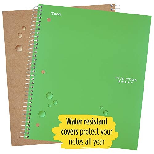 """Five Star Spiral Notebooks, 1 Subject, College Ruled Paper, 100 Sheets, 11"""" x 8-1/2"""", Green, Purple, 2 Pack (38451) Photo #3"""