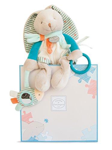 Doudou et Compagnie - Peluche Lapin Avec Hochet - Peluches D'Activités - Taile ? - Blanc/Bleu - Jolie Boîte Cadeau - Lapin Happy - DC2987