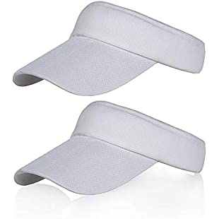 2 Pack White Sun Visors for Women and Girls, Long Brim Thicker Sweatband Adjustable Hat for Golf Cycling Fishing Tennis Running Jogging and other Sports