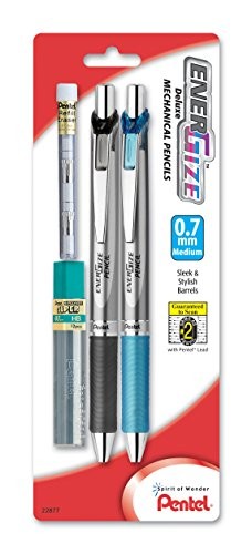 Pentel EnerGize Automatic Pencil with Lead and Erasers, 0.7mm, Assorted, 2 Pack (PL77LEBP2)