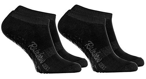 Rainbow Socks - Damen Herren Sneaker Antirutsch Socken ABS - 2 Paar Schwarz - Größen 44-46