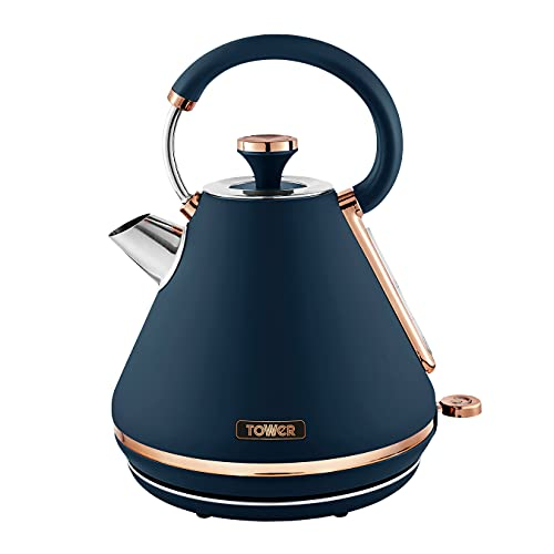 Tower T10044MNB Cavaletto Pyramid Kettle with Fast Boil, Detachable Filter, 1.7 Litre, 3000 W, Midnight Blue and Rose Gold