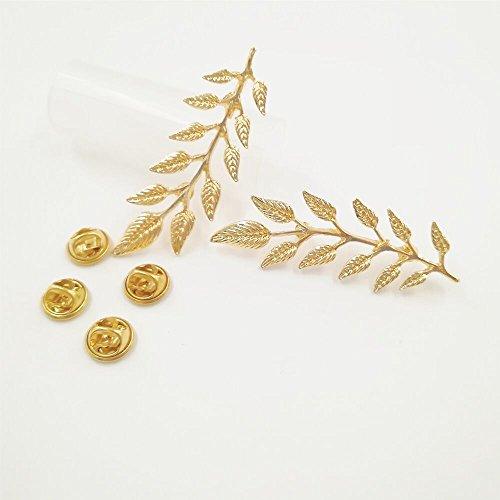 New Simple Elegant Fashion Double Leaf Collar Pin Brooch Classic Design Gold MA by Preciastore