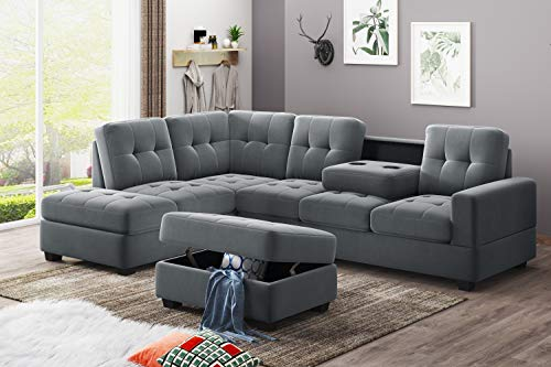 UNIROI Modern Microfiber Sectional, L-Shaped Couch Sofa with Reversible Chaise Lounge Storage Ottoman and Cup Holders Furniture Set, Elegant Grey