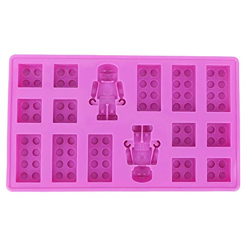 Bandeja de silicona para molde de chocolate, formas de robot y bloques...