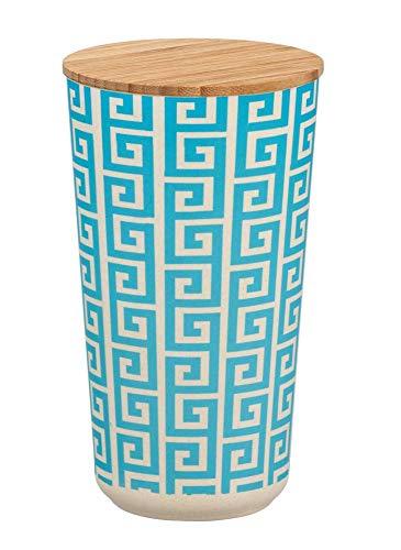 WENKO Aufbewahrungsbehälter Edge, 0,95 Liter, nachhaltige Aufbewahrungsdose mit dekorativem Muster, luftdichter Behälter mit Bambus-Deckel, für Utensilien, Wohnaccessoires & Bad Zubehör