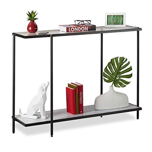 Relaxdays Mesa Consola con 2 estantes, Cristal y Aspecto de mármol, 80 x 110,5 x 36 cm, Color, Negro/Blanco, 1 Unidad