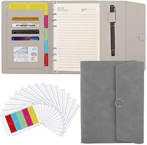 Housolution A5 6 Ring Binder PU Leather Portfolio Case Conference Folder Business Padfolio Card product image