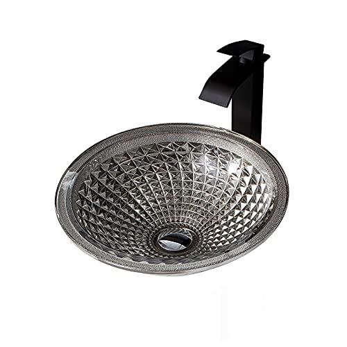Lujoso Plata Lavabo de Cristal, Lavabo de Vidrio Sombrero Redondo Lavabo sobre Instalación en Encimera Lavabo sobre para Baño, 415mm*415mm*140mm,Sink with Faucet