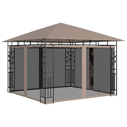 vidaXL Cenador con Mosquitera Toldo Parasol Jardín Patio Terraza Carpa Marquesina Pabellón Duradera Estable Gris Taupe 3x3x2,73 m 180 g/m²