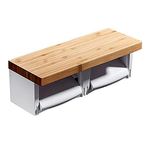 Soporte de papel higiénico con estante de bambú, soporte de doble rollo de inodoro, suspensión de papel de montaje en pared con almacenamiento de teléfonos móviles Multifunción ( Color : Wood color )