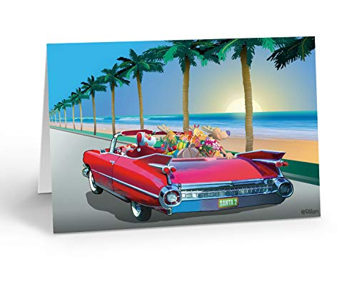 Tropical Cruising Santa Christmas Card - 18 Boxed Beach Holiday Cards & 19 Envelopes