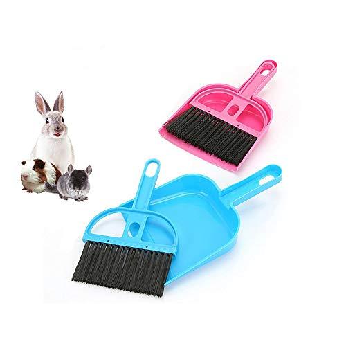 Hyihe - Juego de 2 cepillos para escoba y recogedor de mascotas, kit de limpieza para suelo, utensilios de limpieza para conejos, cobayas, reptiles, erizos, hamsteres y otros animales pequenos
