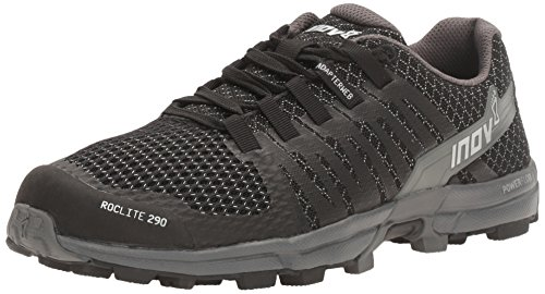 Inov-8 Women's Roclite 290 Trail Running Shoe, Black/Grey, 8.5 B US