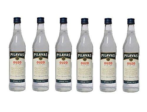 6x Ouzo Nektar Pilavas 38%-Vol. 6 Flaschen a 700 ml Set Griechenland + 2 Probier Sachets Olivenöl aus Kreta a 10 ml