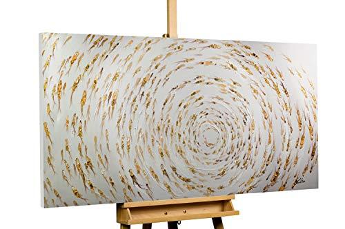 Kunstloft® Cuadro en acrílico En el Estanque 140x70cm | Original Pintura XXL Pintado a Mano sobre Lienzo | Dorado Beis | Cuadro acrílico de Arte Moderno con Marco