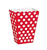 Unique Party- Treat Box Scatole Popcorn Sorpresa in Set da 8, Rosso (Red), Confezione da 8, 59292