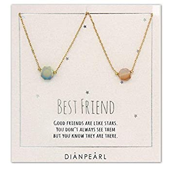 Best friend necklace BFF Necklace friendship necklace for 2 Gold dainty necklace simulated gemstone necklace valentines day