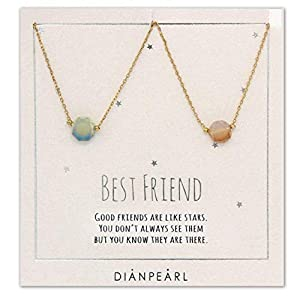 Best friend necklace, BFF Necklace, friendship necklace for 2, Gold dainty necklace, simulated gemstone necklace…