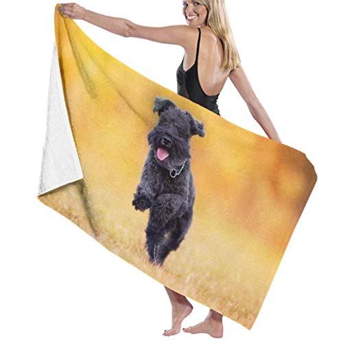 Aubrdon Toalla de baño de Microfibra Schnauzer Negro Perro Paly Autumn Park Alta absorción de Agua, Toalla de Playa Multiusos 80X130CM