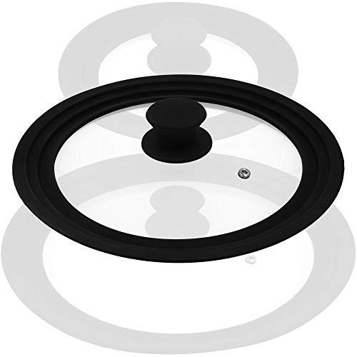 com-four® Coperchio Paraspruzzi Universale in Vetro con Bordo in Silicone per Pentole e Padelle con Ø 24, 26, 28 cm (01 pezzo - cerchio in silicone Ø 29 cm)
