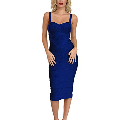 HLBandage Midi-Calf Solid Color Spaghetti Strap Rayon Bandage Dress (M, Navy Blue)