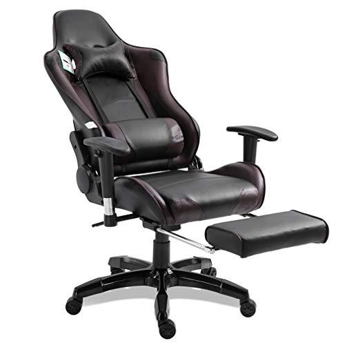 Homgrace - Sedia da ufficio e da gioco, sedia girevole a 360 gradi, sedia da corsa, in pelle super confortevole, con schienale alto, schienale alto, braccioli a T e poggiapiedi per adulti