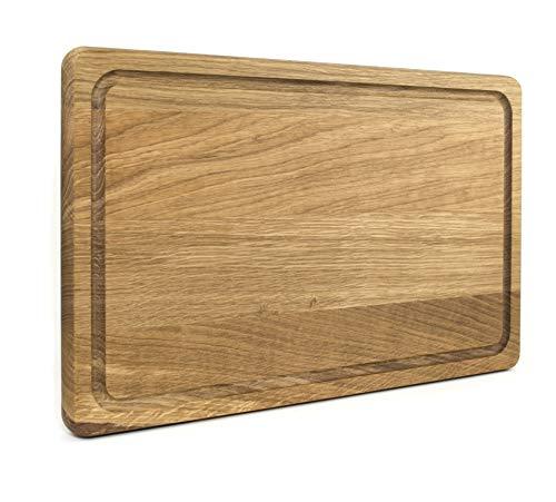 Tabla de cortar de cocina profesional de madera maciza de roble de primera calidad, antideslizante, antibacteriana, antioxidante, antimoho, perfecta para cortar carnes, embutidos, pizzas, pan