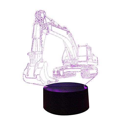 super1798 Excavadora 3D 7 colores LED Touch noche luz niños habitación dormitorio noche escritorio lámpara excavadora