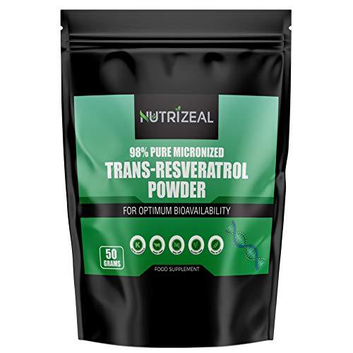 NUTRIZEAL - 98% Trans-Resveratrol Powder – 50g Pure Micronized Resveratrol Food Supplement – No Dairy, Gluten, Soy, Non-GMO – Premium Keto Friendly Extract