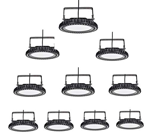 500W UFO LED High Bay Light lamp Factory Warehouse Industrial Lighting IP65 Warehouse LED Lights- High Bay LED Lights- Commercial Bay Lighting for Garage Factory Workshop Gym (500) (10 pcs)