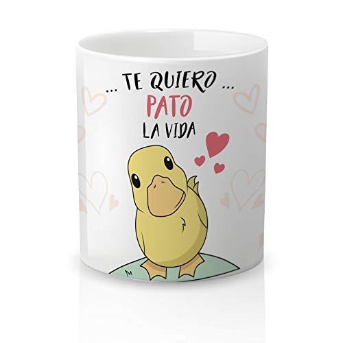Yujuuu! | Taza cerámica Original Amor. Resistente 100% al microondas y lavavajillas. Taza con Frase Te Quiero Pato la Vida