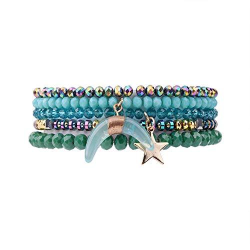 DMUEZW 5 Unids/Set Azul Verde Crystal Star Moon Charms Pulseras para Las Mujeres Metal Nugget Crystal Beads Strand Pulsera