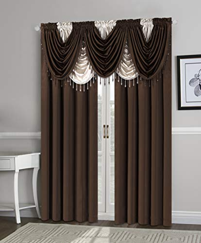 Home Basics Regency Light-Filtering Window Curtain Collection | Luxurious Feel | Classic Look | Solid Color | 100% Polyester | Single Rod Pocket | (Coffee, Waterfall Valance | 55x37)