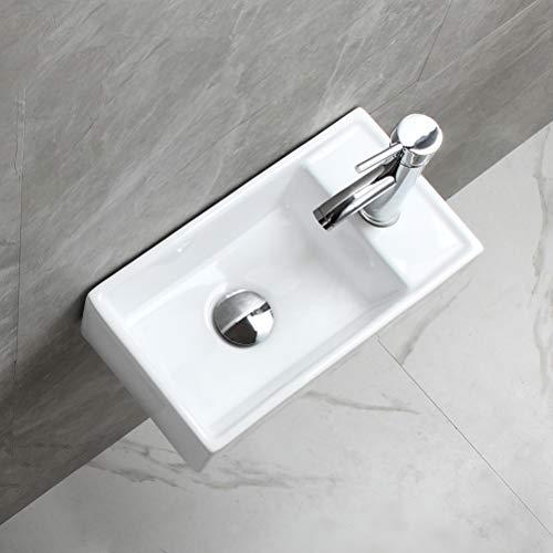 eConnect-EU Lavabo Sobre Encimera de Baño Lavabo Porcelana Blanca rectangular estilo moderno moda simple (41 x 22 x 10 cm)