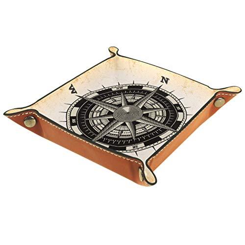 Valet Tray, PU Leder Catchall, Tray Organizer, Aufbewahrungsbox für Uhren Schmuckmünzen Key Wallet Landscape Compass