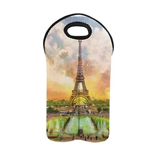 Bolsas de regalo de vino 2 botellas Arte Pintura al óleo París Torre Eiffel Bolsas de vino navideñas Portabotellas doble Bolsas de vino Soporte de botella de vino de neopreno grues