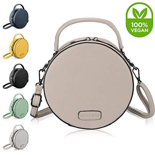 CASAdiNOVA runde Handtasche Damen - veganes Leder, kleine Umhängetasche Damen, Schultertasche - Frauen-Hand-Tasche Beige
