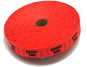 Red Admit One Ticket Roll : roll of 2000