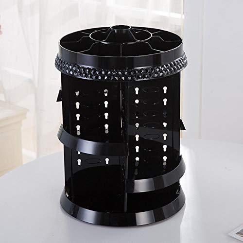 DFGH 18 Diamantmuster Transparent Acryl Rotary Dressing Rack 360 Grad rotierende Aufbewahrungsbox Schminktisch-Schwarz C.