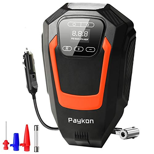 Paykon Tire Inflator Portable Air Compressor for Car Tires - DC 12V Digital Display Tire Pump with Pressure Gauge Portable Air Pump with LED Light for Car/Bicycles/Basketball and Other Inflatables