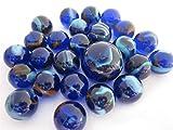 Big Game Toys~25 Glass Marbles DEEP SEA Translucent Transparent Cobalt Blue/Red Classic Style Game Pack (24 Player, 1 Shooter) Decor/Vase Filler/Aquarium