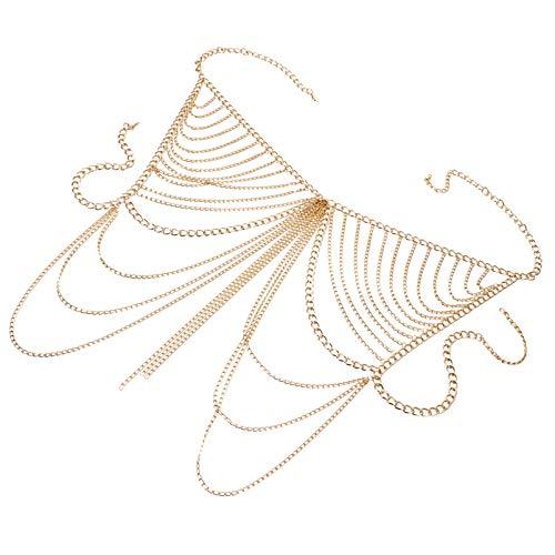 ABOOFAN Corpo Corrente Biquíni Cintura Gótica Barriga Corrente Joias Colar Cupless Sutiã Gaiola Brilhante Corrente de Peito Casal Prazer Cosplay Jogo de Cama Dourado