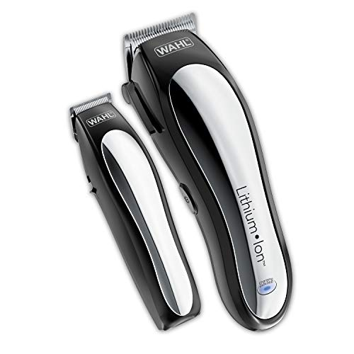 WAHL Clipper Lithium Ion Cordless Haircutting & Trimming Combo Kit – Rechargeable Electric Razor for Grooming, Black/Silver, 1.0 Count, (Pack of 1)