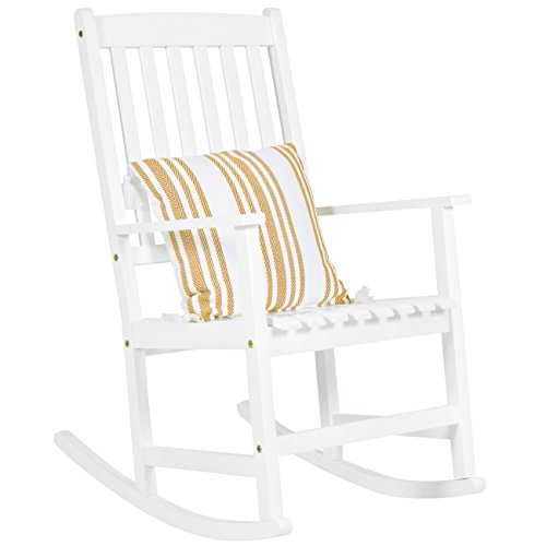 Best Choice Products Indoor Outdoor Traditional Wooden Rocking Chair Furniture w/Slatted Seat and Backrest, White